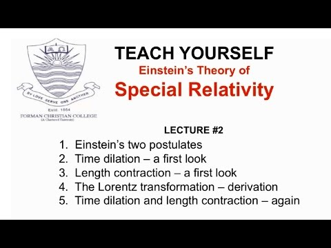 Lecture 2: Einstein's Postulates (Special Relativity - English)  | Pervez Hoodbhoy