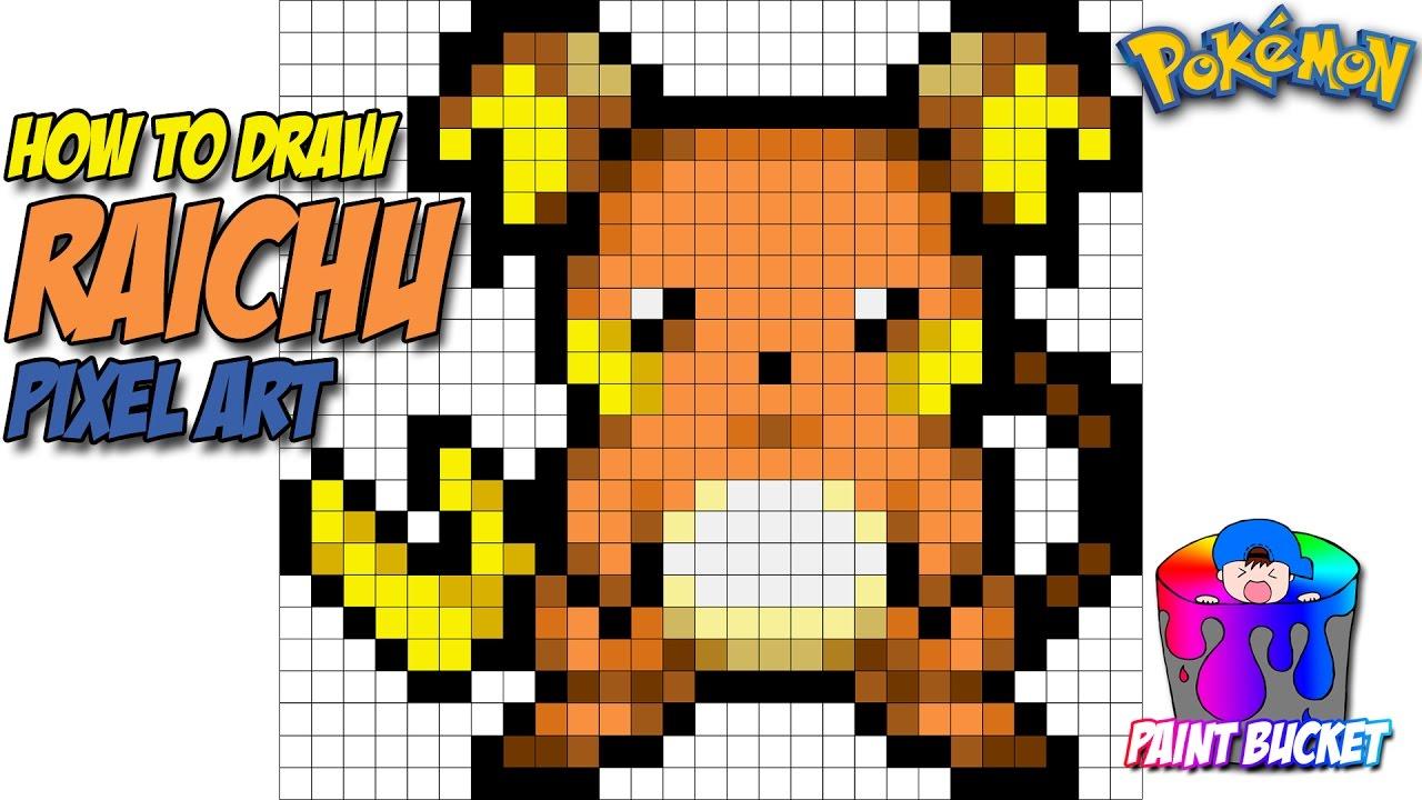 How To Draw Raichu Pokemon 16 Bit Pixel Art Drawing Tutorial