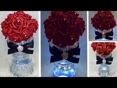 DIY / How to make a  LIT Floral Wedding Centerpiece / Bling Floral Wedding Centerpiece Ideas