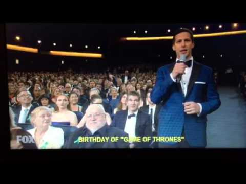 Andy Samberg wishes George R R Martin Happy Birthday at 2015 Emmys 67th