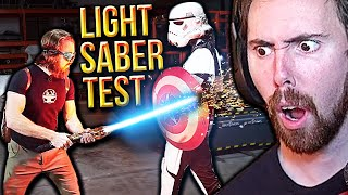 "Asmongold Reacts to ""Real Plasma LIGHTSABER Test"" 
