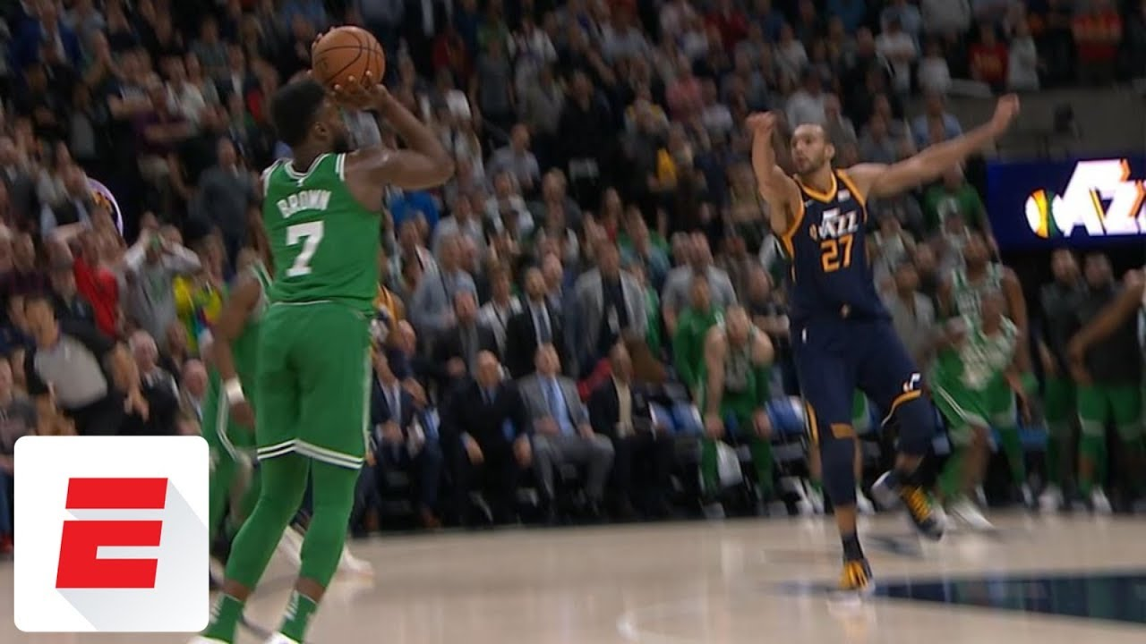 Jaylen Brown hits game-winning 3 with 0.1 seconds left vs. Jazz | ESPN