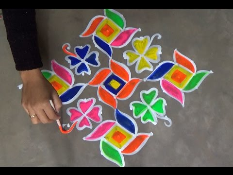 Simple Kolam With 13 To 1 Dots Easy Muggulu Designs Easy Rangoli