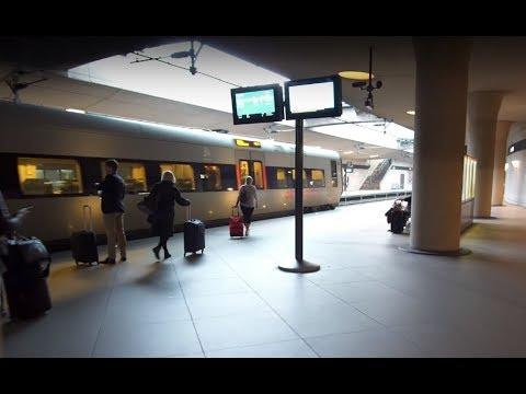 Denmark, train ride from Copenhagen Airport to Central Station, 1X moving sidewalk, 1X escalator