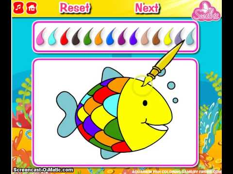 Aquarium fish coloring new fish games for kids and girls for Fishing games for girls