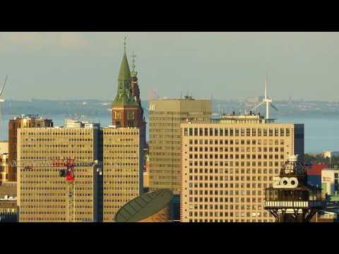 copenhagen city skyline københavn centrum højhuse zoo tårn øresund og lund i sverige
