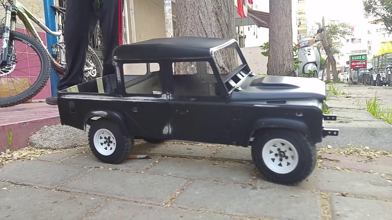 Defender 110 Kahn pickup rc crawler test run - YouTube