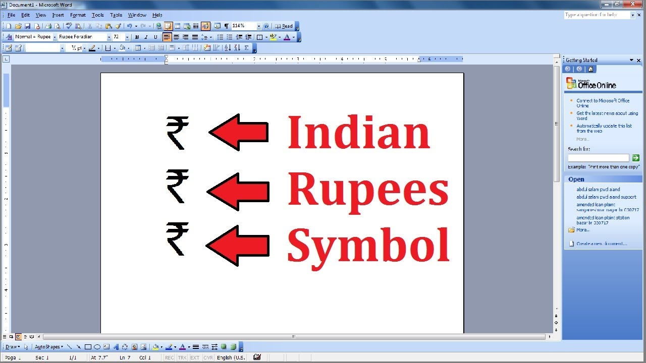 How To Add Indian Rupees Symbol In Ms Word 2003 2007 2010 2013