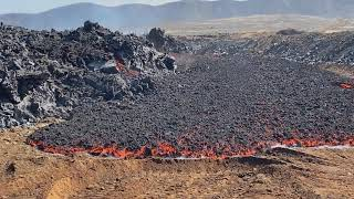 Flowing Pāhoehoe-  and ʻAʻā-Lava -  Fagradalsfjall, Iceland  -  May 21, 2021