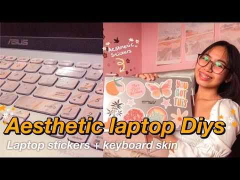 AESTHETIC LAPTOP DIYs I Diy laptop stickers and Diy keyboard skin