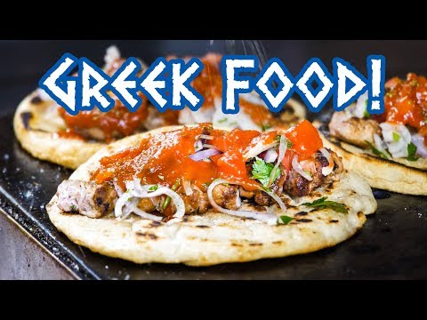 Greek Food - STREET FOOD TOUR And Amazing Souvlaki In Athens, Greece!
