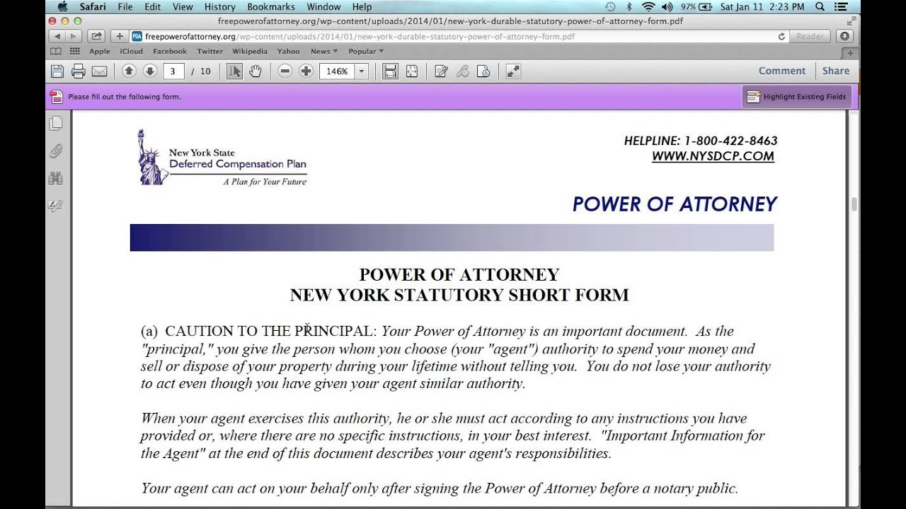 How to fill in a new york power of attorney form youtube falaconquin