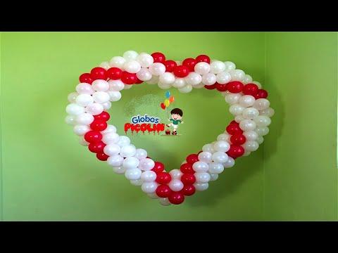 Corazon con estructura de globos para boda # 29