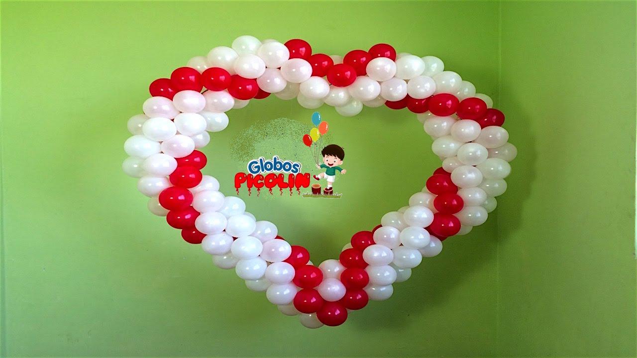 Corazon con estructura de globos para boda # 29 - YouTube