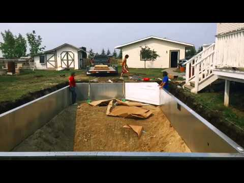 Time lapse of an in ground vinyl liner swimming pool installation