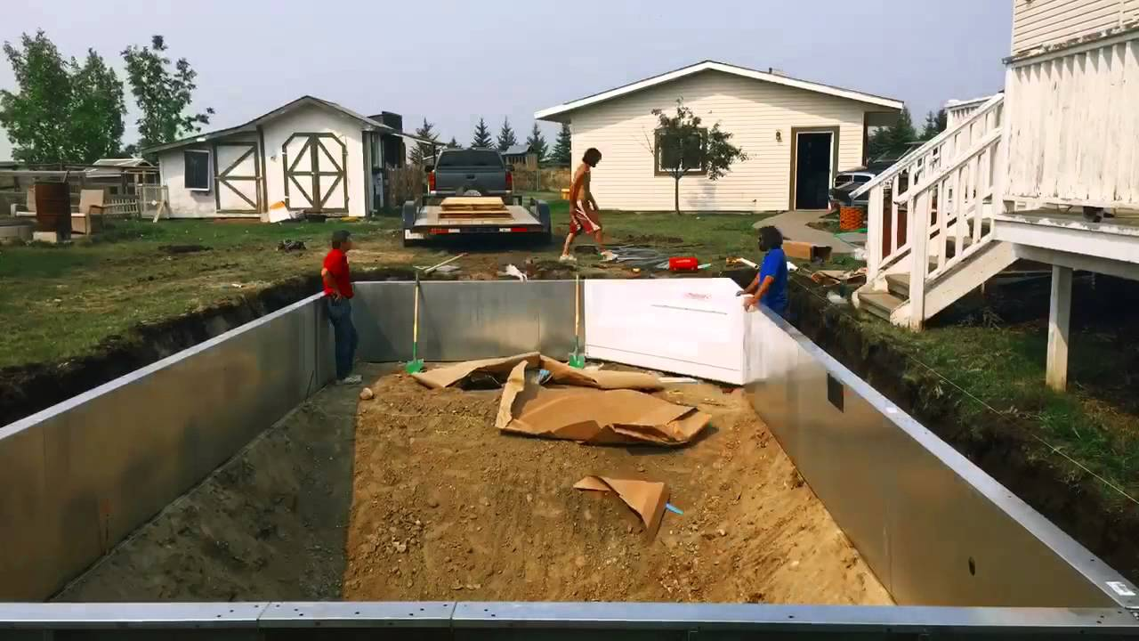 Time lapse of an in ground vinyl liner swimming pool - Swimming pool installation cost in ground ...