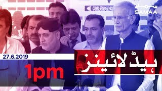 Samaa Headlines - 1 PM -27 June 2019