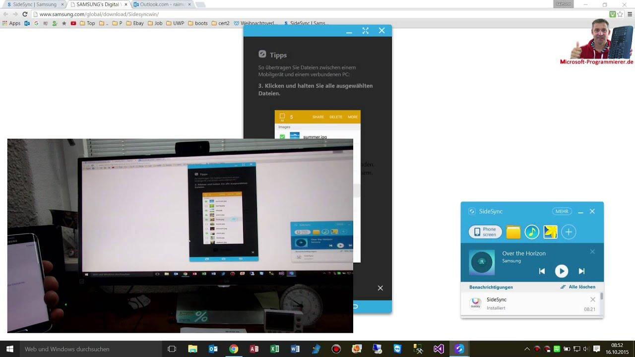 Samsung SideSync Smartphone on PC Windows 10