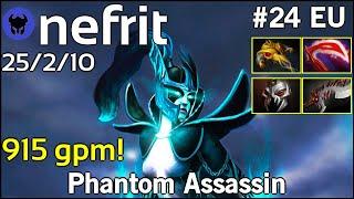 915 gpm! nefrit [FCDB] plays Phantom Assassin!!! Dota 2 7.20