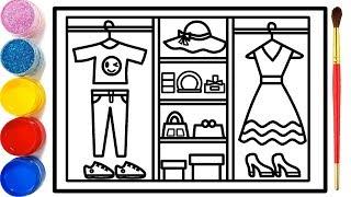 Gambar cover Vẽ tranh tủ đựng thời trang | Dạy bé vẽ | Dạy bé tô màu | Fashion Closet Drawing and Coloring