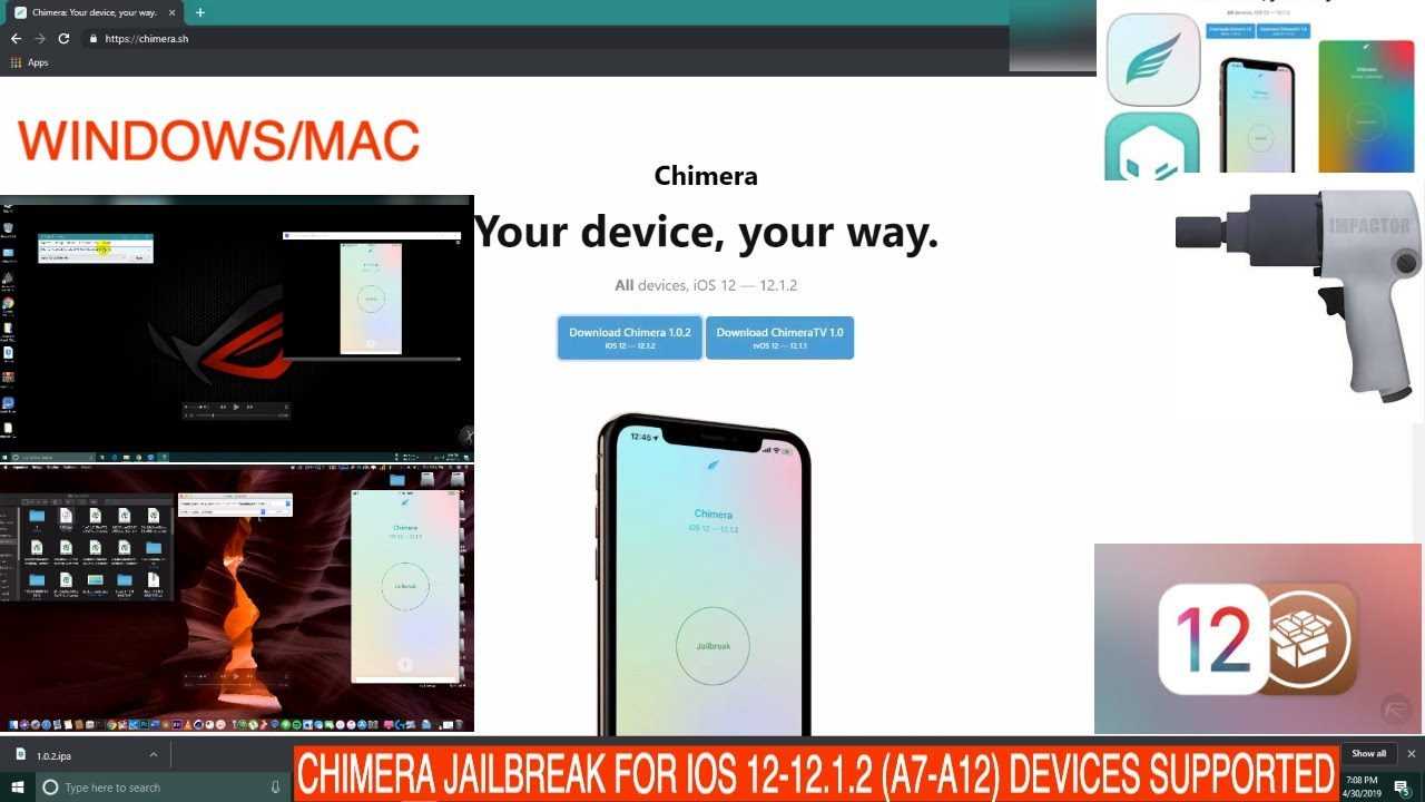 CHIMERA JAILBREAK FOR IOS 12-12 1 2 IPHONE XR,XS,XS MAX DEVICE SUPORTED