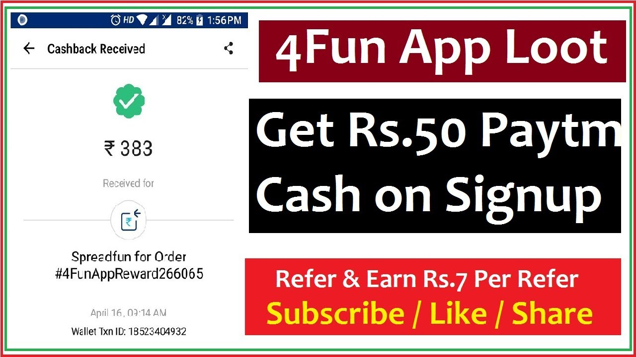 4Fun App - Get Rs 50 Paytm Cash on Signup & Rs 7 Per Refer