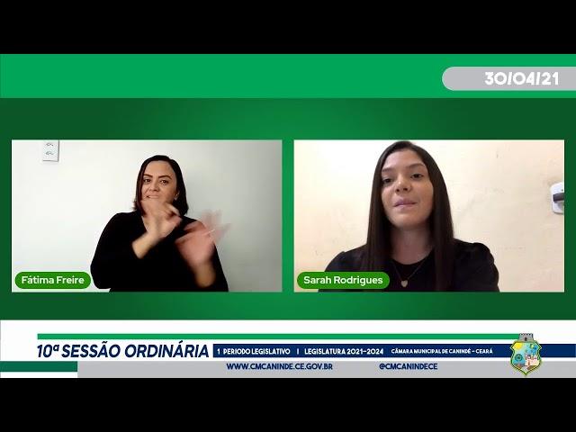 10ª SESSÃO ORDINÁRIA DA CÂMARA MUNICIPAL DE CANINDÉ