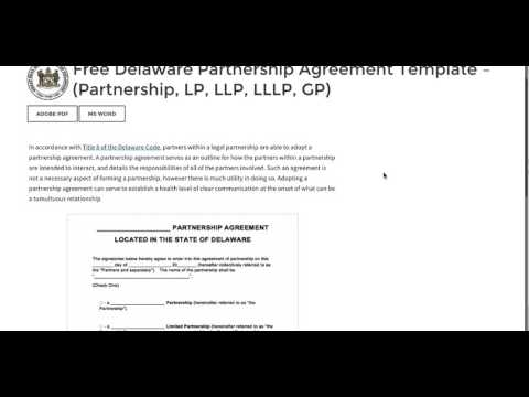 Free Delaware Partnership Agreement Template - (Partnership, LP, LLP, LLLP, GP)