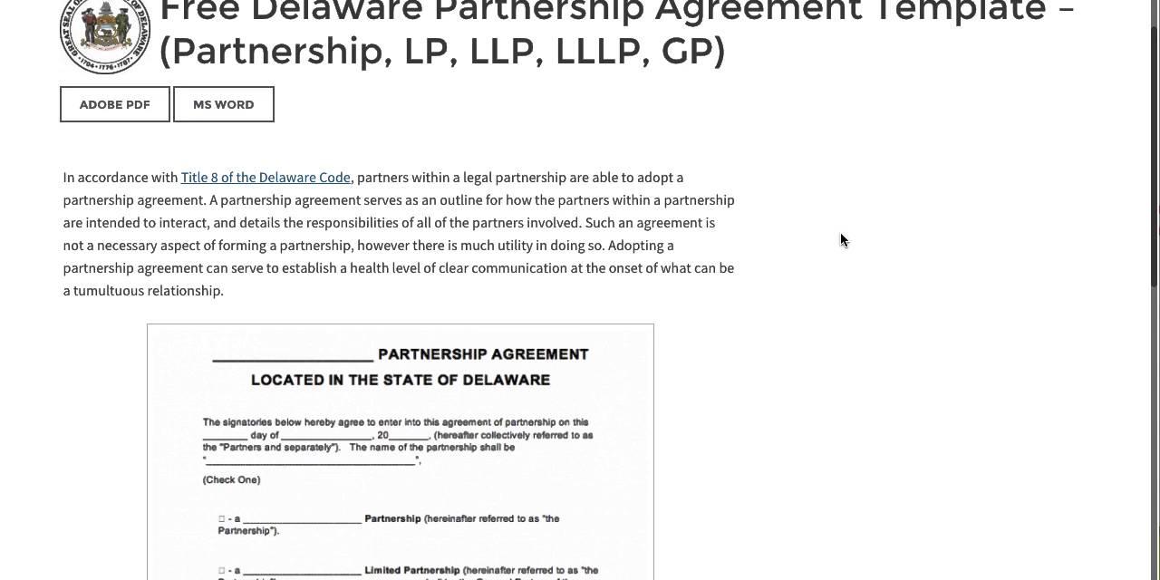Free Delaware Partnership Agreement Template - (Partnership, Lp, Llp, Lllp,  Gp)