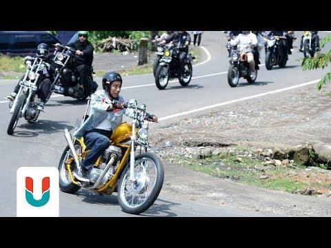 Jokowi Sunmori Di Sukabumi Pakai Motor Emas