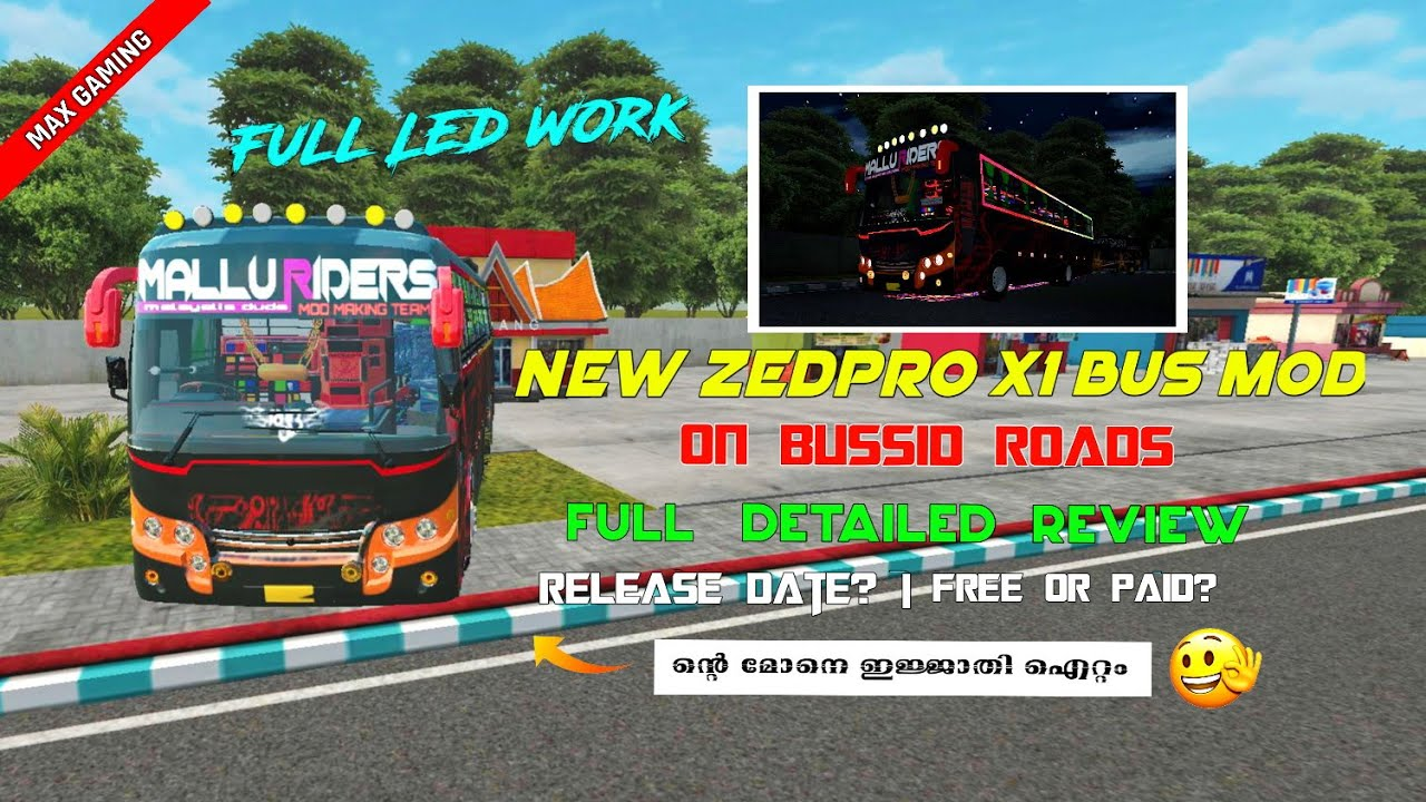 New Zedpro X1 Bus Mod Full Light Works Team Mallu Riders Complete Review Pakka Mod Bussid Youtube