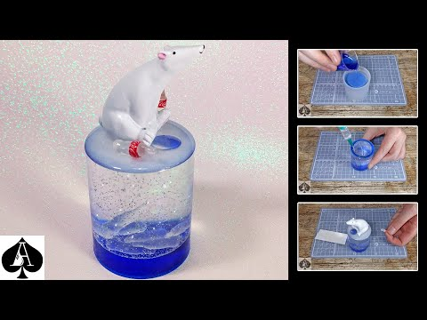Polar Bear Snow Globe from Epoxy Resin using Silicone Pen Holder Mould