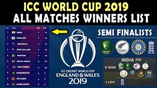 ICC World Cup 2019 : Predictions - All Matches Winners List | Points Table | Semi Finalists