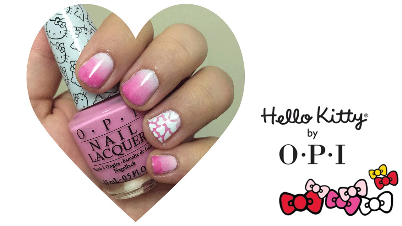 Valentine\'s Day Pink Ombre Nail Art Tutorial | Hello Kitty by OPI ...