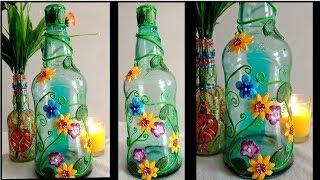 DIY stained glass bottle / Wine Bottle Art / Bottle Painting / Altered Bottle
