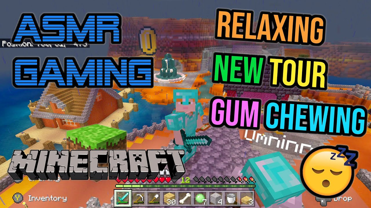 ASMR Gaming ? Minecraft Relaxing New Realm Tour Gum Chewing ?? Controller Sounds + Whispering ??