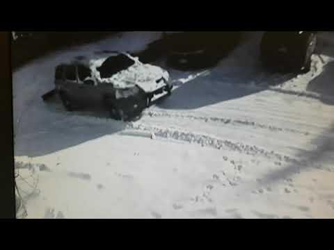 Wooden snowplow demo