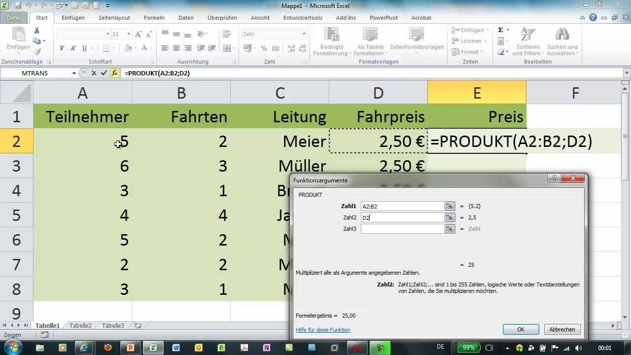 Excel - PRODUKT - markierte Werte multiplizieren - YouTube