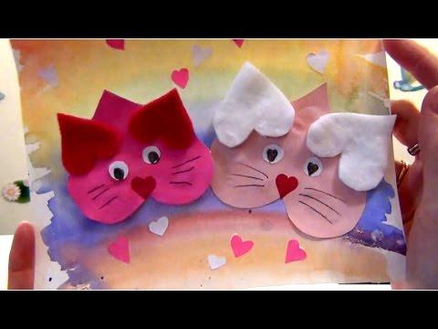 Котики открытка своими руками