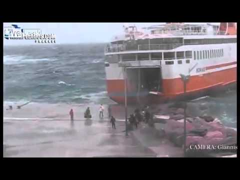 Greek Island Ferry Flawlessly Executes Heavy Seas Med Moor A
