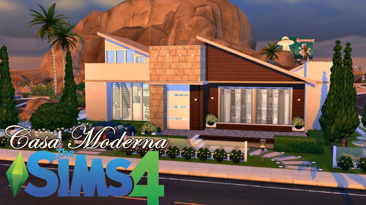 Construindo uma casa t rrea e moderna the sims 4 speed for Casa moderna kw