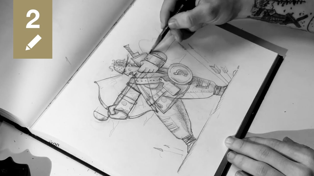 Sketchbook 02 kitchen archer pencil drawing time lapse