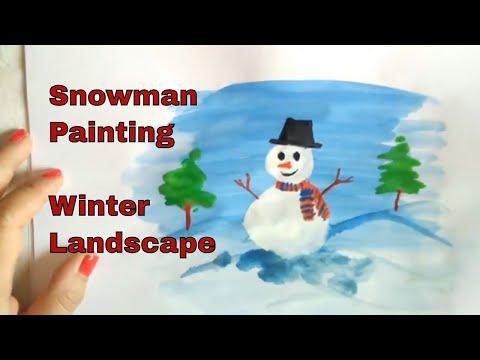 Snowman painting – Christmas Holiday Art Activity Tutorial