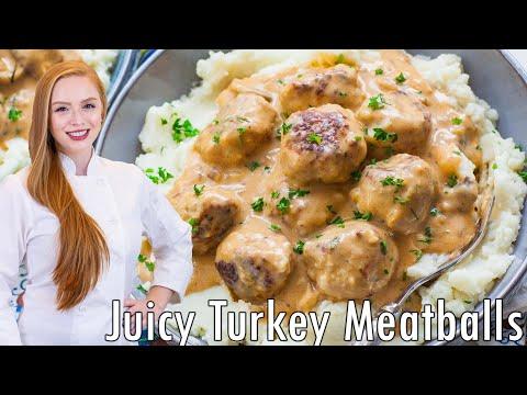 JUICY Turkey Meatballs with Mushroom Sauce!! The BEST Meatballs Recipe!!