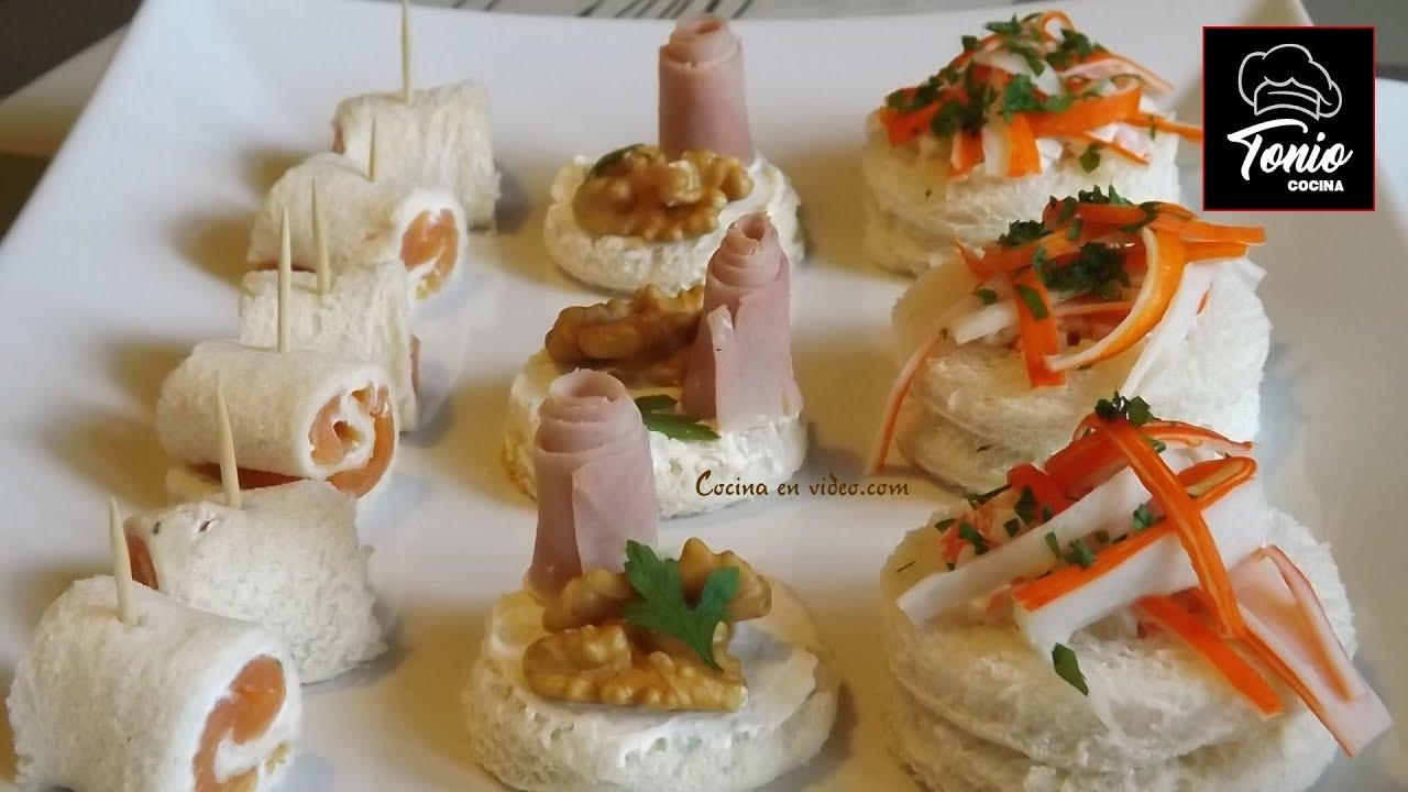 CANAPÉS VARIADOS 3 | Aperitivos fríos y fáciles con pan de molde ...