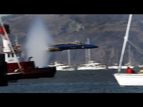 Blue Angels Flying Low Over Boat In San Francisco Bay