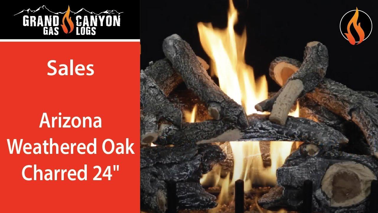 Arizona Weathered Oak Charred By Grand Canyon Gas Log Set Vented