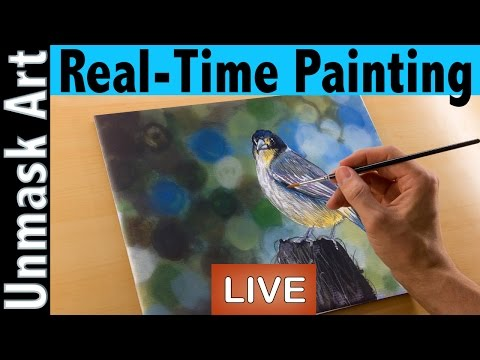 How to Paint a Grey Butcherbird | Real Time Acrylic Painting Tutorial