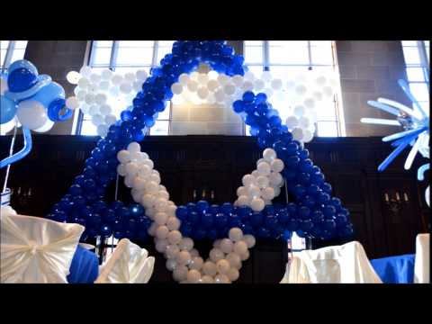 Bar and Bat Mitzvah Party Decorations.  Magen David Balloon Sculpture
