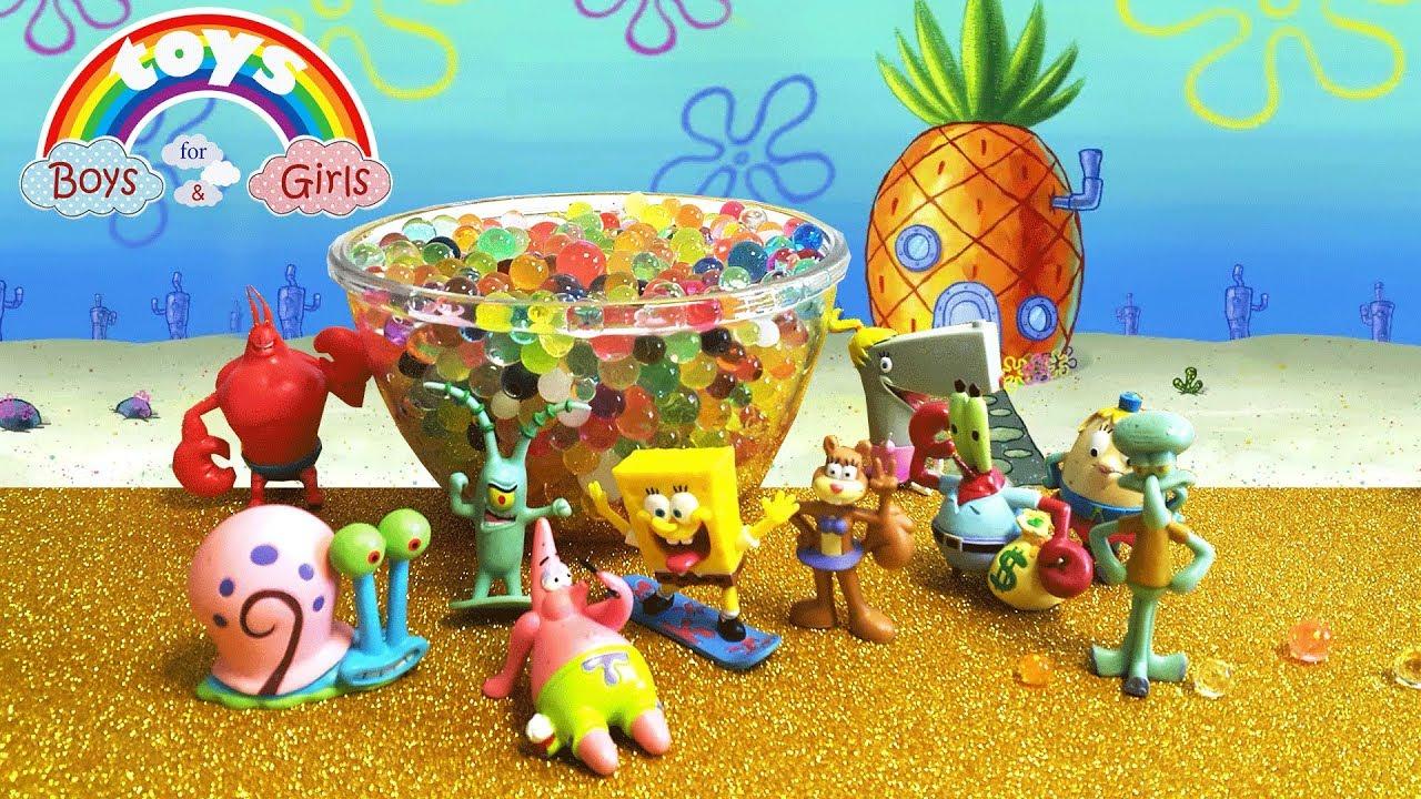 Uncategorized Spongebob And His Friends finding spongebob and his friends toys in the pool with orbeez orbeez